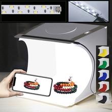 Мини складной Studio soфт Box светильник бокс софтбокс набор для фона студийной фотосъемки светильник контейнер под элемент питания 2 светодиодн...