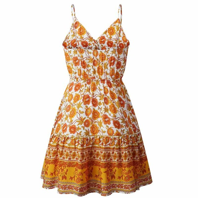 Summer Women Print V-Neck Dress 4