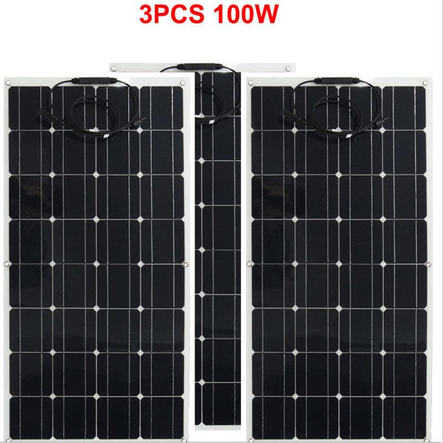 300w solar panel 3pcs of 100w panel solar Monocrystalline solar cell 12v solar battery charger for RV/boat/car