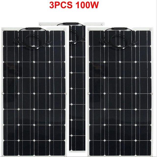 Panel solar monocristalino para RV/barco/coche, cargador de batería solar de 12v, 300w, 3 uds.