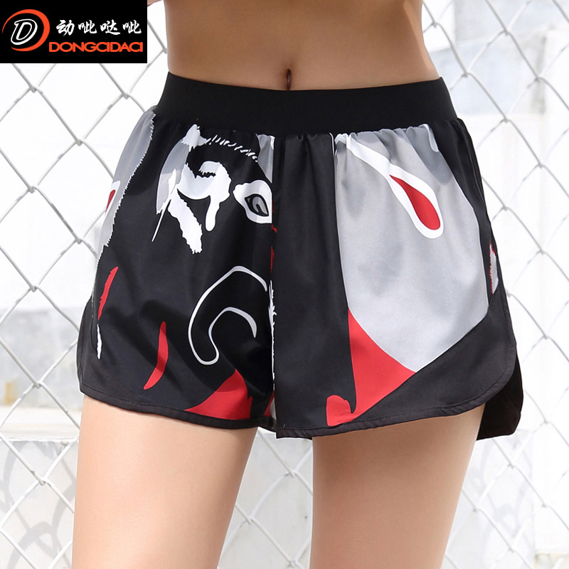 Summer New Digital Printing Camouflage Anti-glare Shorts Breathable Slim Running Lady Fitness Clothing Ladies
