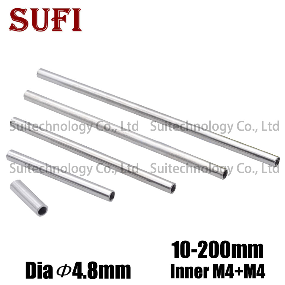 5pcs M4 Inner Tooth Hollow Straight Tube Nut Internal Thread Inner Wire Lighting Accessories Iron Chrome-plated Hollow Rod Long