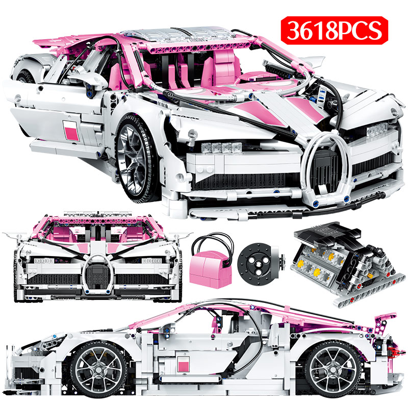 City Mini Car Particle 1:10 Model Building Blocks Legoing Technic Pink Bugatti Sports Car Bricks Gifts Toys For Children
