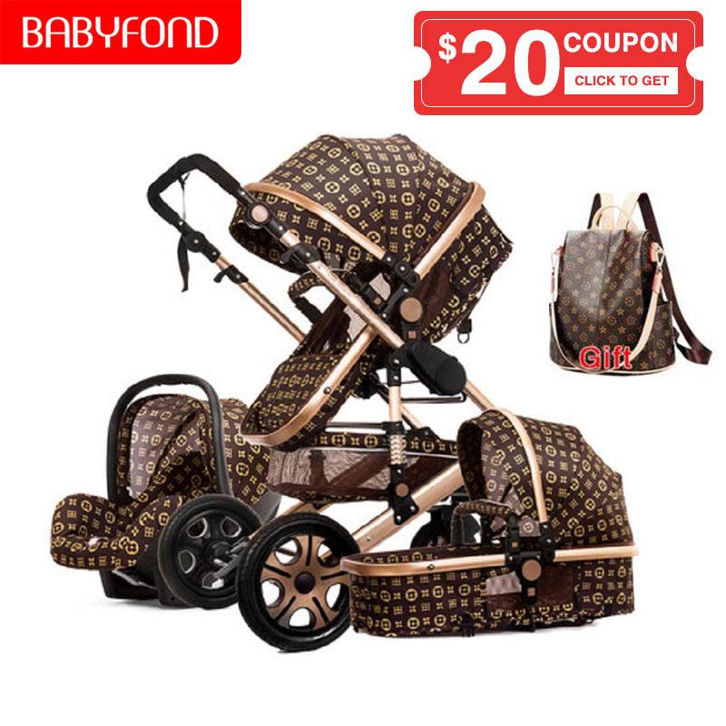 USA Free Ship! European Luxury 4 In 1 Baby Stroller High Landscape Baby Pram With Car Seat  Seat