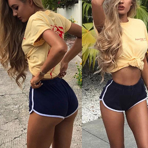 Hot Women Blend 2019 Summer Short Pants Contrast Binding Side Split Elastic Waist Patchwork Casual Beach Party Shorts(China)