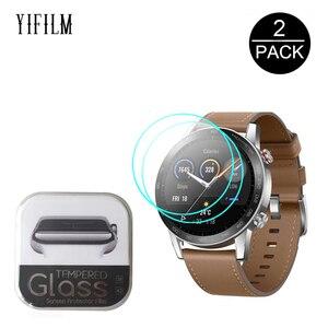 Image 1 - Protecteur décran en verre trempé 2.5D pour Huawei Honor montre magique 2 GT 2 GT2 42mm 46mm GS Pro Smartwatch Film de protection décran