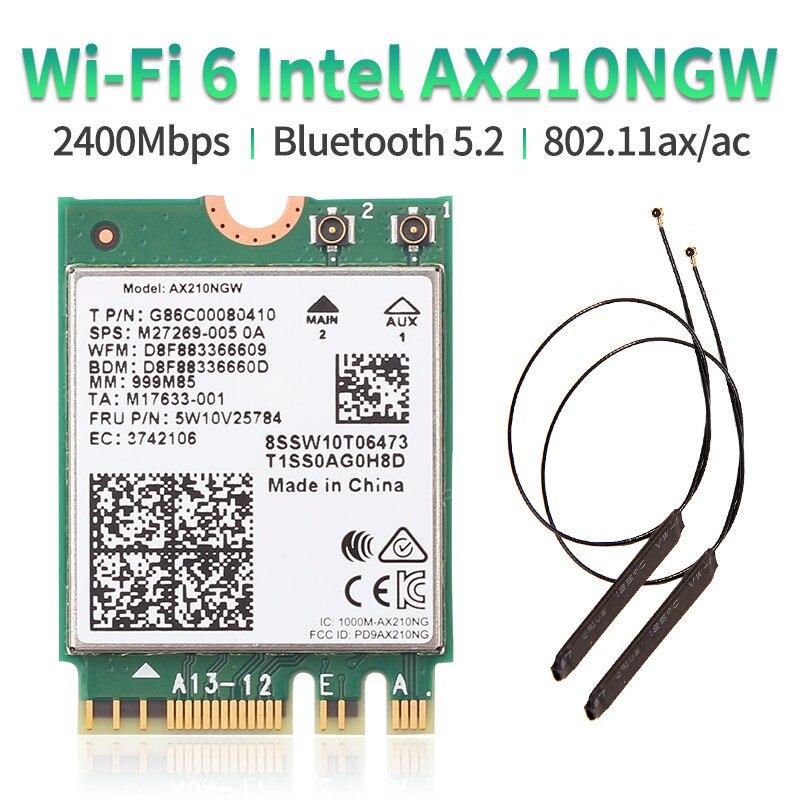 Dual Band WI-FI 6E Intel AX210 Bluetooth 5.2 3000Mbps M.2 Wireless Card AX210NGW 2.4Ghz/5G/6G 802.11ax Wifi 6 With Antenna Kit