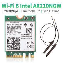 Cartão sem fio ax210ngw ax210ngw 5.2 ghz/5g/6g 802.11ax wifi 6 da faixa dupla wi-fi 6e intel ax210 bluetooth 3000 2.4 mbps m.2 com antena