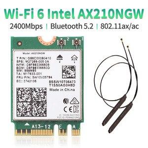 Двухдиапазонный Wi-Fi 6E Intel AX210 Bluetooth 5,2 3000 Мбит/с M.2 Беспроводной карты AX210NGW 2,4 ГГц/5G/6G 802.11ax Wi-Fi 6 со встроенной антенной