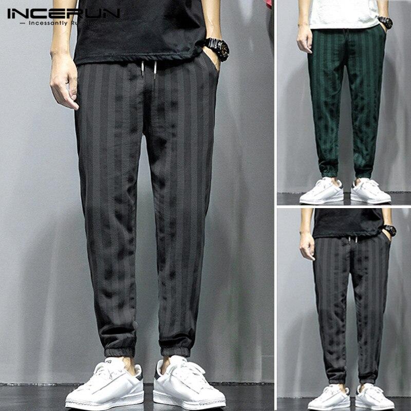 INCERUN Cotton Linen Harem Pants Men Striped Elastic Waist Streetwear Hiphop Trousers Men Fashion Joggers Chic Casual Pants 2020