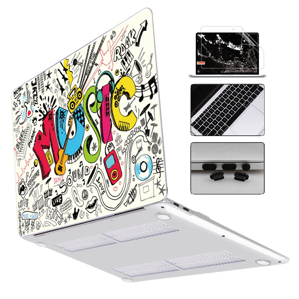 New Laptop Case For MacBook Air 13 Inch A1932 2019 Pro 13 15 16 Touch Bar A2141 A2159 A1932 Colorful Pattern Plastic Hard Cover