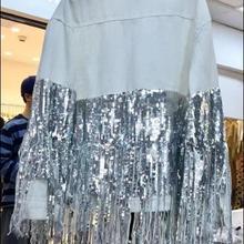 Модное джинсовое пальто для женщин; сезон весна-осень; Новинка; одна застежка; с кисточками; Цвет черный, белый; Джинсовая куртка; Женские базовые джинсовые куртки