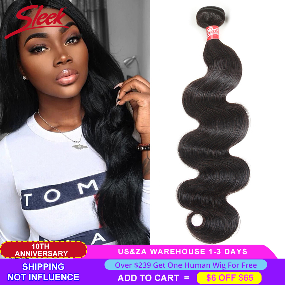 Sleek Brazilian Hair Weave Bundles 8 - 28 30 Inch Brazilian Body Wave Non-Remy Human Hair Extension 1/3/4 Bundle Deals Free Ship