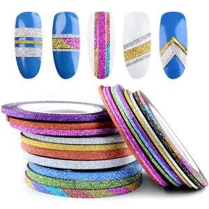 Новинка, 1 мм, 12 цветов, Блестящая лента для ногтей, Набор наклеек, художественные украшения, сделай сам, советы для полировки, гель для ногтей...