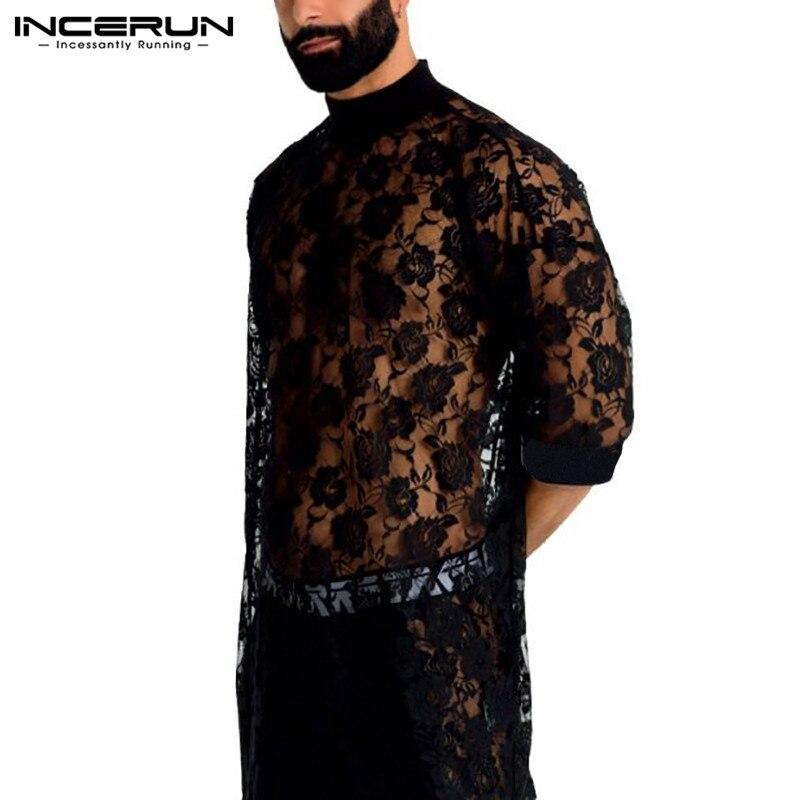 INCERUN Mode Männer Mesh T Hemd Spitze Halbe Hülse 2021 O Neck Sehen Durch Sexy Streetwear Lange Stil T Tops party T-shirts Männer