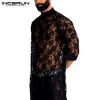 INCERUN-Camiseta de malla de moda para hombre, camisa de encaje de media manga, cuello redondo, transparente, ropa de calle sexi, estilo largo, camisetas de fiesta, 2021