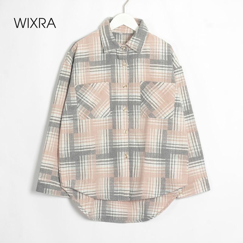 Wixra Womens Woolen Shirt Jacket Coat Ladies Pockets Nice Plaid Print Turn Down Collar Long Sleeve Female Outerwear