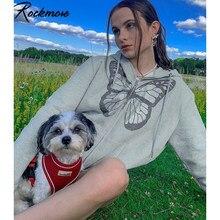 Rockmore-Sudadera con capucha para mujer, con diseño de mariposa, de gran tamaño, con cremallera, estética, suelta, de manga larga, Y2K, Tops de primavera