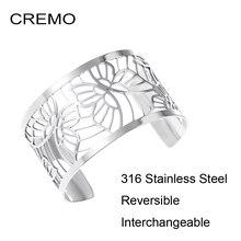 Cremo Bracelets en acier inoxydable pour femmes, manchettes interchangeables en cuir