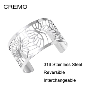Image 1 - Cremo Butterfly Bracelets Stainless Steel Bangles Argent Femme Manchette Interchangeable Leather Pulseiras