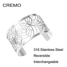Cremo ผีเสื้อสร้อยข้อมือสแตนเลสกำไลเงิน Femme MANCHETTE เปลี่ยนได้หนัง Pulseiras