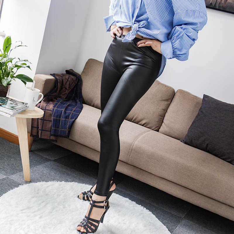 S-5XL Pinggang Tinggi Faux Kulit 2020 Fashion Seksi Hitam Tipis Wanita Legging Elastis Push Up Legging Plus Ukuran