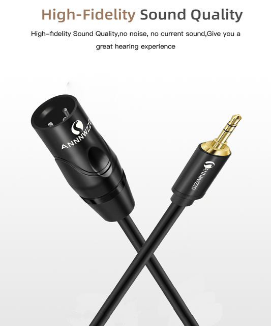 """3.5mm 1/8"""" Inch TRS Stereo To XLR Male Interconnect Audio Cable for professional recording studios live performances schools"""