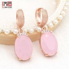 SJMADE 2020 moda temperamento ovale grande opale rosa orecchini pendenti 585 oro rosa Zirconia Eardrop per le donne gioielli da sposa