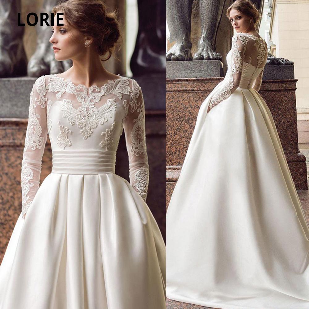 LORIE 2020 Long Sleeve Lace Wedding Dresses Satin Boho Back Button Bridal Gowns A-line Beach Princess Party Gowns With Pockets