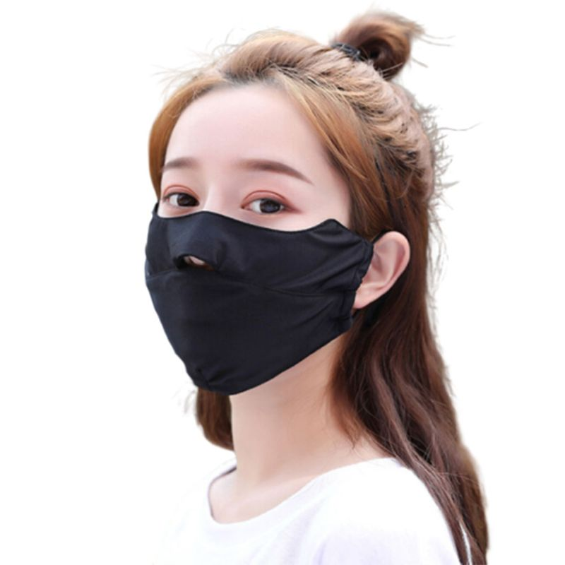 Unisex Summer Ice Silk Thin Sunscreen Open Nose Mouth Mask Cycling Windproof Solid Color Washable Adjustable Earloop Respirator