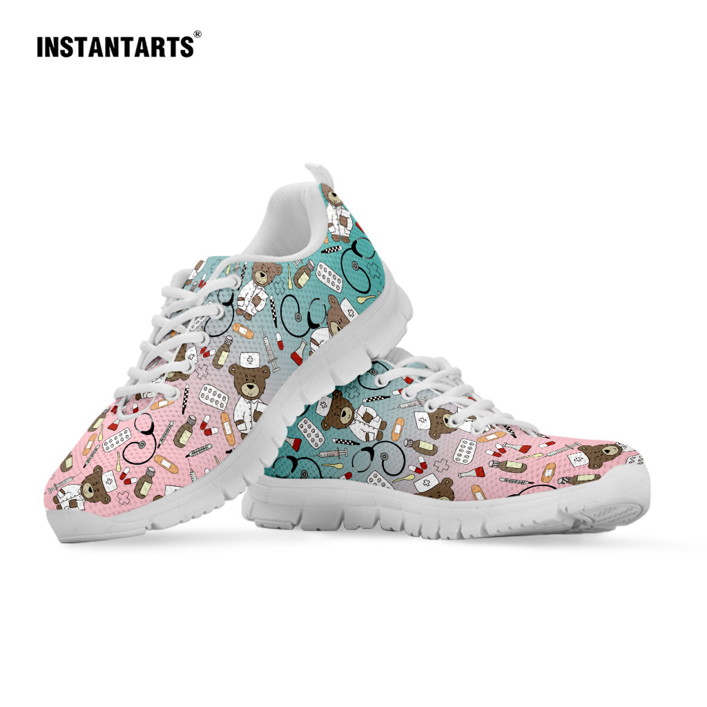 Buy INSTANTARTS Women's Casual Sneakers Cute Medical Bear Print Flats Woman Cute Gradient Nursing Footwear Females Spring Loafers