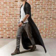 Fashion Men Solid Color Long Sleeve Cardigan Open Front Trench Coat