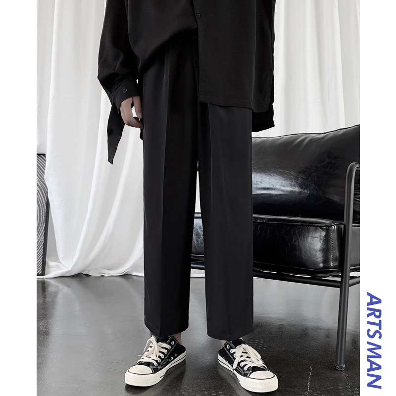 Suit Pants Capri Pants Sub-Men Korean-style Trend Teenager Straight-Cut Pendant Sense Loose Pants Autumn & Winter Loose Casual P