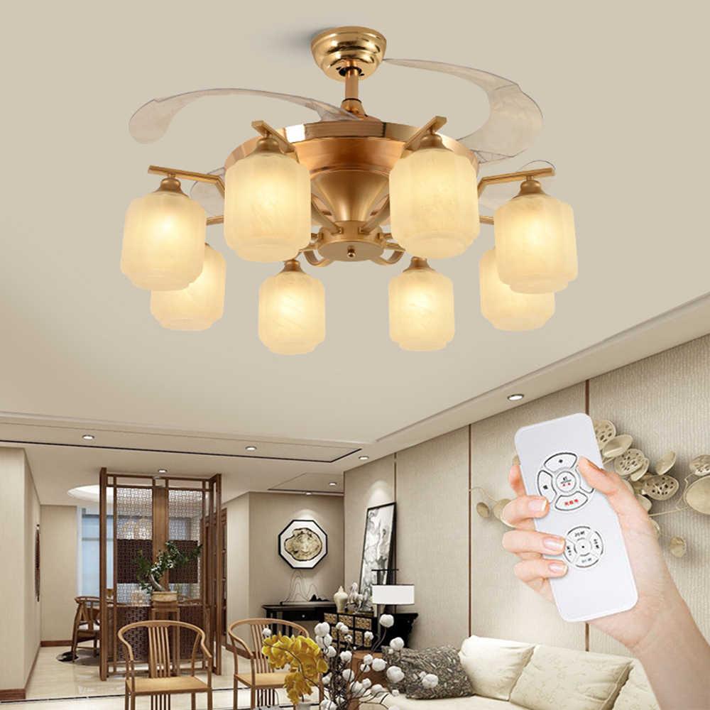 Ventilador de vidro lâmpada com controle remoto abajur 42 polegada luz natal decoração para casa sala estar do hotel moderno ventilador teto silencioso