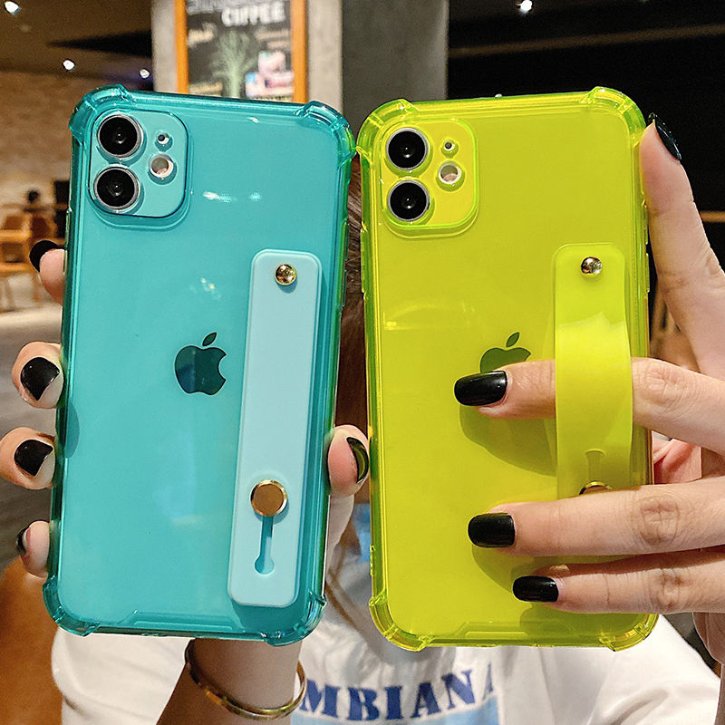 Custodia per telefono trasparente con cinturino da polso per iPhone 11 11Pro Max XR XS Max X 7 8 Plus 11Pro 12 Pro Cover posteriore morbida a colori fluorescenti 1