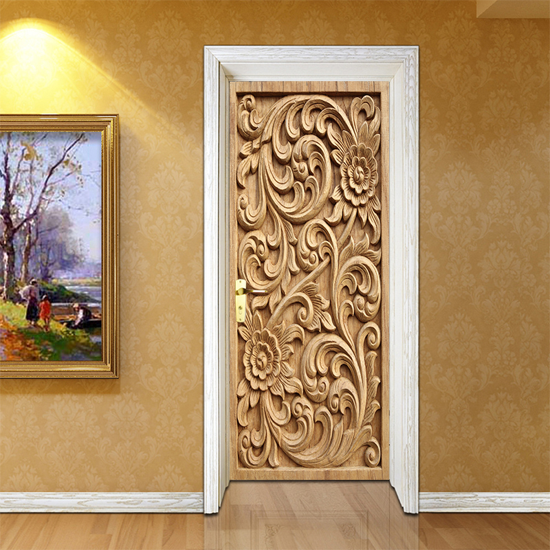 Self Adhesive Renovation European Relief DIY PVC Stickers On Door Waterproof Entrance Home Decoration Decal Print Art Picture
