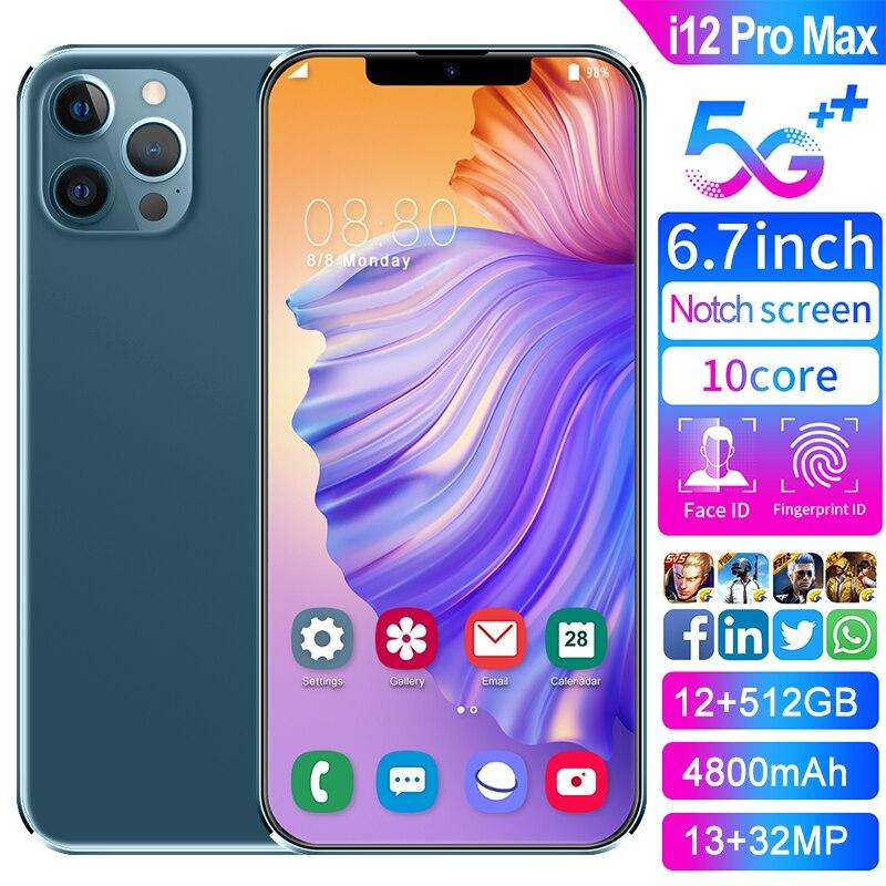 2021 горячая Распродажа телефон i12 Pro Max глобальная версия Смартфон Snapdragon 888 Face ID 12 Гб Оперативная память 512 ГБ Встроенная память 7,2 дюймов мобил...