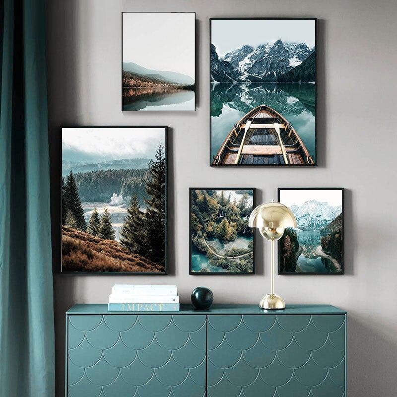 Скандинавская Природа Пейзаж Wall Art плакат горное озеро лодка Скандинавская Картина на холсте печатать фотографии Современный домашний декор