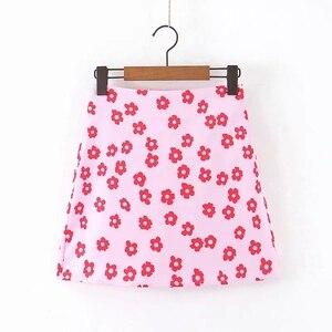 Vacation Style Flower Printing Women Pink Satin Mini Skirt 2019 Autumn Leisure Lady A-line Skirts P1509(China)