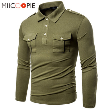 Polos Hombre 2019 Military Double Pocket Long Sleeve Slim Fit Streetwear Tops High Quality Men Solid Para XXL - discount item  28% OFF Tops & Tees