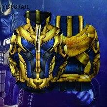 YINUODAIL Mens Hoodie Superhero Thanos 3D Hoody Sweatshirt Halloween Cosplay Costume Tops