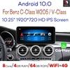 Snapdragon Android 10 samochodowy odtwarzacz multimedialny dla Mercedes Benz C klasa W205 glc-klasa X253 v-klasa W446 /4 + 64GB 10.25 'ekran IPS