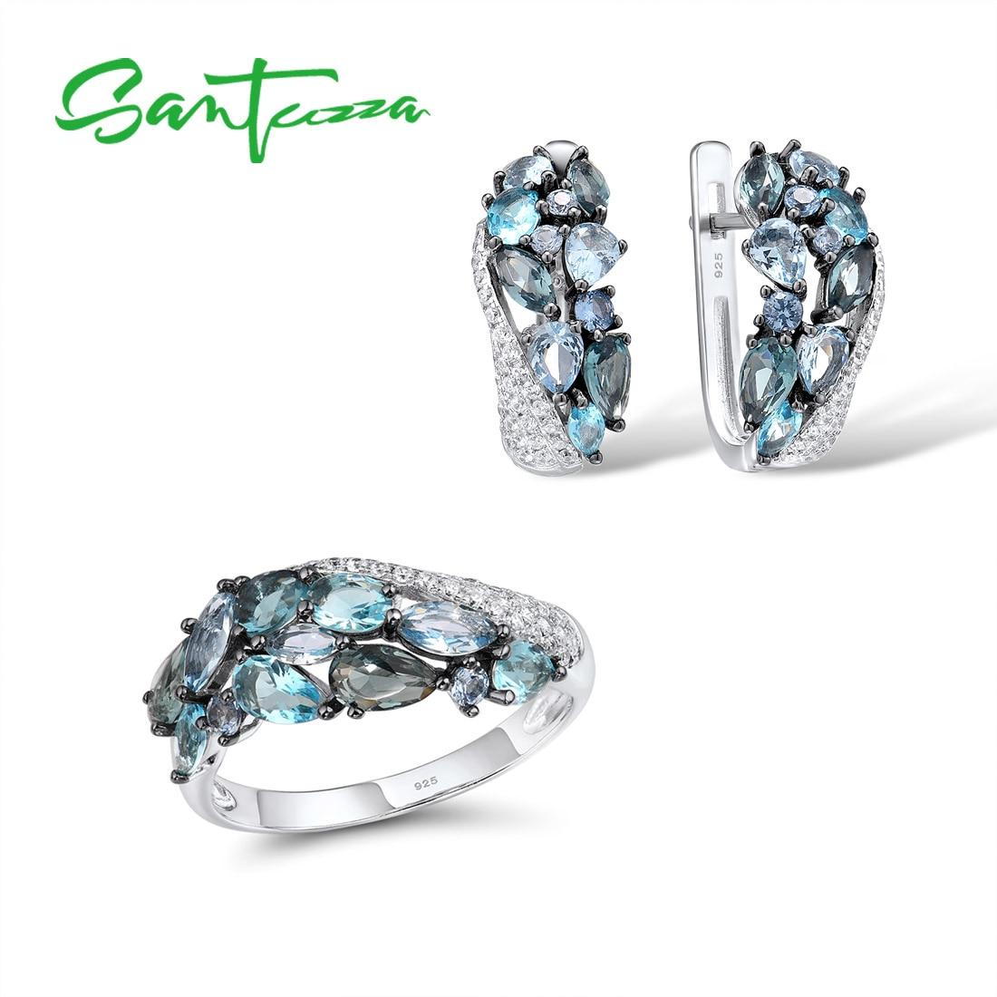 SANTUZZA Genuine 925 Silver Jewelry Set For Women Sparkling Blue Stone Earrings Ring Set Delicate Luxury Party Fine Jewelry