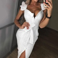 White Embroidery Lace Dress Casual Women Ruffles Butterfly Sleeve Buttons Bodycon Dress Ladies Party Sexy Dress