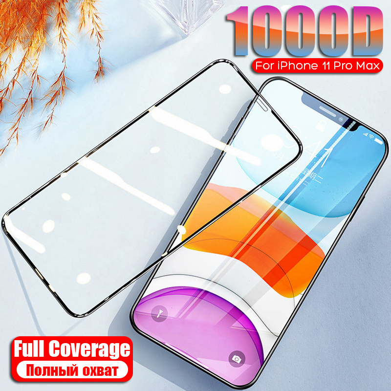 New 1000D Protective Tempered Glass On The For IPhone 11 Pro Max Glass Film Screen Protector For IPhone X XS MAX XR 11 Pro