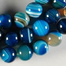 Nouvelle offre spéciale de bijoux à la mode, bande bleue de 8mm, Onyx, perles rondes, en vrac, 15 pouces