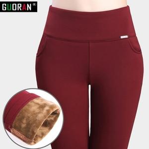 Image 3 - 2018 winter warm Women Pencil Pants Candy Color High elasticity Female Skinny pants female trousers Leggings Plus size S 6XL