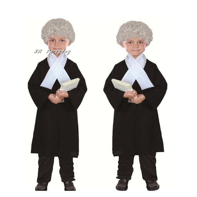 Novas crianças menino menina advogado traje crianças juiz trajes cosplay traje de halloween para crianças festa vestido suprimentos