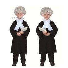 Yeni çocuklar oğlan kız avukat kostüm çocuk yargıç Cosplay kostümleri cadılar bayramı kostüm çocuklar için parti elbise malzemeleri