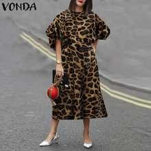 Платье с леопардовым принтом 2021 vonda women'sundress винтажный